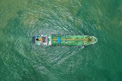 Oil tanker or gas tanker in open sea, Refinery Industry cargo ship, aerial view in import export LPG oil refinery, Logistics and. Transportation royalty free stock photos