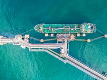 Oil tanker, gas tanker in the high sea.Refinery Industry cargo s. Hip,aerial view,Thailand, in import export, LPG,oil refinery, Logistics and transportation with stock photography