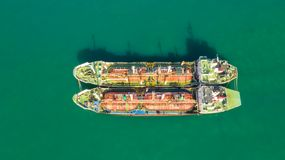 Oil tanker, gas tanker in the high sea.Refinery Industry cargo ship,aerial view,Thailand, in import export, LPG,oil refinery, royalty free stock images