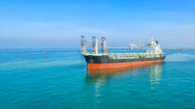 Oil tanker, gas tanker in the high sea.Refinery Industry cargo ship,aerial view,Thailand, in import export, LPG,oil refinery, stock photo
