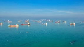 Free Oil Tanker, Gas Tanker In The High Sea.Refinery Industry Cargo Ship,aerial View,Thailand, In Import Export, LPG,oil Refinery, Royalty Free Stock Image - 134779946