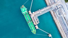 Oil tanker, Gas tanker operation at oil and gas terminal, View f. Rom above stock photos