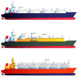 Oil tanker and gas tankers, LNG carriers. Vector illustration Stock Photo