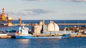 Oil tanker Halki. Is pictured docked in port Las Palmas de Gran Canaria, Spain Royalty Free Stock Photos