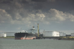 Oil tanker in harbour Stock Photos