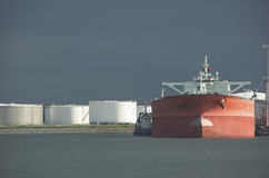 Oil tanker in harbour stock images