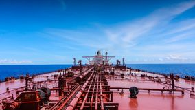 An oil tanker in the Indian ocean. An oil tanker sails in the waters of Indian ocean Stock Photo