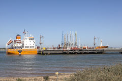 Oil tanker in industrial port Royalty Free Stock Photos