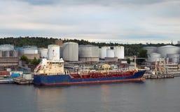 Oil tanker. In industrial port of Stockholm, Sweden royalty free stock image