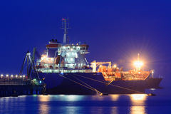 Oil tanker. Tanker moored after having downloaded the crude oil Stock Photography