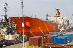 Oil tanker moored near an oil silo in Port of Antwerp Stock Image