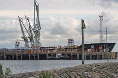 Oil tanker moored for unloading Royalty Free Stock Photo