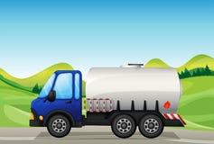 An oil tanker near the hills. Illustration of an oil tanker near the hills Stock Photo