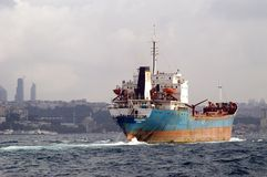 Oil Tanker near Istanbul Stock Photo