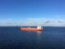 Oil tanker. Outside Copenhagen, Denmark Royalty Free Stock Images