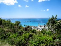 An oil tanker outside terminal. In Saint Martin in the Caribbean Stock Images