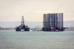 Oil tanker and platform on Caspian sea. Near Baku, Azerbaijan royalty free stock photo