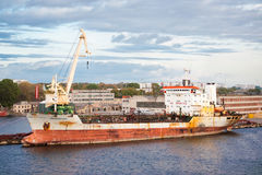 Oil tanker in port royalty free stock photos