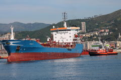 Oil tanker in the port of Genoa Stock Images