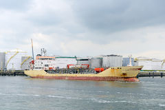 Oil tanker in the port of rotterdam Royalty Free Stock Image