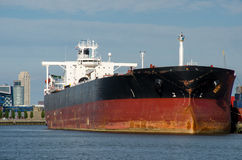 Oil tanker in the port of Rotterdam royalty free stock photos