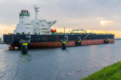 Oil tanker in the port of Rotterdam, Netherlands.  Royalty Free Stock Image