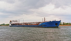 Oil tanker on the river Royalty Free Stock Image