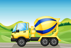 An oil tanker at the road near the hills. Illustration of an oil tanker at the road near the hills Stock Photo