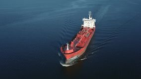 Oil tanker in the sea stock footage