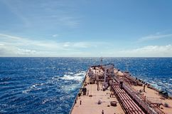 Oil tanker at sea. In sunny weather Royalty Free Stock Photo