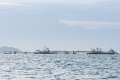 Oil Tanker in the sea. On sunset light Royalty Free Stock Photos