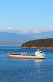 Oil Tanker Ship. In Padilla Bay, Anacortes, Washington State with Mt Baker in the background Stock Photography