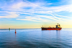 Oil Tanker Ship. And buoy in the sea Stock Images