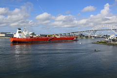 Oil Tanker Ship Entering Corpus Christi Texas Port Royalty Free Stock Images
