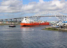 Oil Tanker Ship going into Corpus Christi Texas Ship Channel Stock Photography