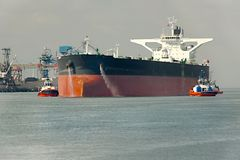 Oil Tanker Ship. Large crude oil tanker ship coming into port Royalty Free Stock Photography