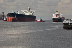 Oil Tanker Ship. Large crude oil tanker ship coming into port Royalty Free Stock Images