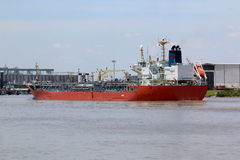 Oil Tanker Ship On Ship Channel Royalty Free Stock Image