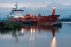 Oil Tanker ship. In Pier in Morning Royalty Free Stock Image