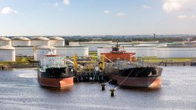 Oil tanker ship port terminal Stock Images
