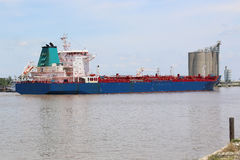 Oil Tanker Ship On Ship Channel Royalty Free Stock Images