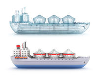 Oil tanker ship and wire model Royalty Free Stock Images