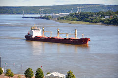 Oil tanker on St. Lawrence River in Quebec City, Canada Royalty Free Stock Photos