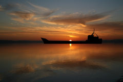 Oil tanker at Sunset. With beautiful sky illustration Royalty Free Stock Images