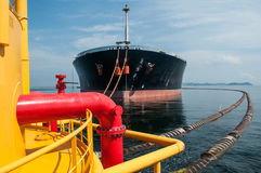 Oil tanker is transferring oil to the cargo vessel Stock Images