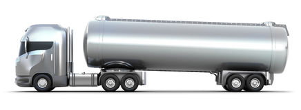 Oil Tanker truck. Isolated 3D image Stock Photos