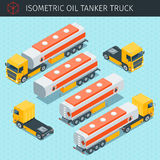 Oil tanker truck. Isometric oil tanker truck with front and rear views. Yellow truck with the fuel tank . 3d vector transport icon. Highly detailed vector Stock Image
