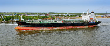 Oil tanker. Unloaded oil tanker departures from Lagos, Nigeria, Africa Royalty Free Stock Image