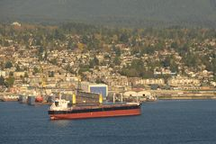 Oil Tanker at Vancouver, BC, Canada Stock Image