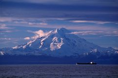 Oil Tanker and Volcano royalty free stock photo